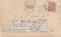 032/27 -  HOTEL USA - Carte TP Semeuse France PARIS 1903 Vers NEW YORK - Etiquette Forwarded From HOTEL LORRAINE N.Y. - Hôtellerie - Horeca
