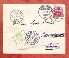 Brief, EF Helvetia, Appenzell Nach Lugano, Weitergeleitet Massagno, Cassarat, 1914 (55446) - Briefe U. Dokumente