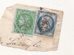 FRANCE Emission De Bordeaux - 5 Cts Vert Jaune Foncé - N° 42B A --- Sur Fragment Côte 5ct 300€ TTB+ - 1870 Bordeaux Printing