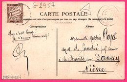 Timbre Taxe à 10 Centimes Triangle Sur Cp Mailly - Route De Châlons Vers Nièvre ( 58 ) - 1907 - Belle Animation - Marcofilie (Brieven)