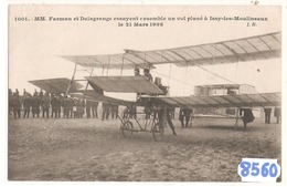 8560 AVIATION   FARMAN ET DELAGRANGE ESSAYENT ENSEMBLE UN VOL PLANE A ISSY LES MOULINEAUX  21 MARS 1908 - Aviatori