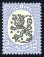 Finland Sc# 106 MH 1921 3m Blue & Black Arms Of The Republic Helsinki Issue - Unused Stamps