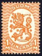 Finland Sc# 134 MNH 1925-1929 1m Deep Orange Arms Of The Republic Helsinki Issue - Finland