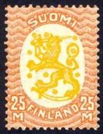 Finland Sc# 140 MNH 1927 25m Deep Orange & Yellow Arms Of The Republic Helsinki Issue - Finland