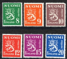 Finland Sc# 291-296 MH 1950 Lion Type - Finland