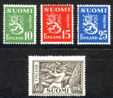 Finland Sc# 302-305 MNH 1952 Lion And Chopper Types - Finland