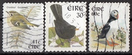 Irlanda 1997... Birds Uccelli Goldrest Blackbird Puffin Regolo Merlo Fratercula Ireland Eire Used - Sparrows