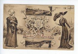 CPA Souvenir De Rouen Lemarchand Autrefois Aujourd'hui Costume Folklore 1918 - Rouen