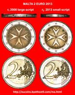 # BOTH TYPES: MALTA ★ 2 EURO 2013! LOW START ★ NO RESERVE! - Errors And Oddities