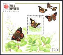 New Zealand Sc# 1077a MNH Souvenir Sheet 1991 Butterflies - Unused Stamps