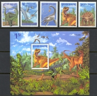 New Zealand Sc# 1180-1184a, 1185 MNH 1993 Prehistoric Animals - Unused Stamps