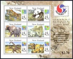 New Zealand Sc# 1236b MNH Souvenir Sheet 1994 Wild Animals - New Zealand