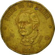 Monnaie, Dominican Republic, Peso, 1992, TB, Laiton, KM:80.1 - Dominicaine