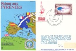Belgium Belgique 1972 RAF Escaping Society Flown Cover Retour Aux Pyrenees - 2. Weltkrieg