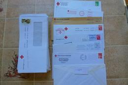 107 ENVELOPPES CROIX ROUGE TIMBRÉES ET OBLITÉRÉES - Poststempel (Briefe)