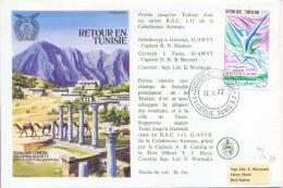 Tunisia Tunisie 1977 RAF Escaping Society Flown Cover Retour En Tunisie - 2. Weltkrieg