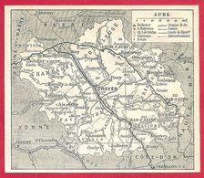 Carte Du Département De L'Aube, Préfecture, Sous Préfecture, Chef Lieu De Canton, Commune, évêché... Larousse 1908 - Vieux Papiers