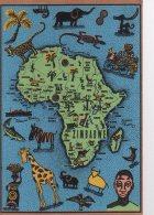 REF 333 :  CPSM Afrique Carte Géographique Contour De Pays Zimbabwe Gill Bond - Zimbabwe
