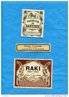 """MARSEILLE- ST JUST--années 1900-10-2 étiquettes """"RAKI"""" Apéritif+eau De Vie-de Félix LAUTIER - Alcoholes"""