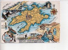REF 305 :  CPSM Contour De Département Carte Géographique Ile D'Ouessant Finistère 29 - Maps