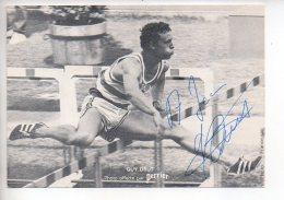 REF 311  :  CPSM Carte Dédicacée Par Guy Drut Photo Offerte Par PERRIER - Très Rare Autographe - Athlétisme