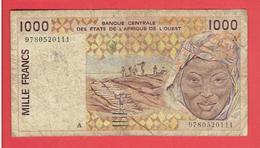 BANQUE CENTRALE DES ETATS DE L AFRIQUE DE L OUEST1000 FRANCS BILLET EN BON ETAT - Billets