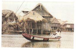 REF 323  :  CPSM Afrique Dahomey Cité Lacustre - Dahomey