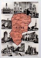REF 335  :  CPSM Contour De Département Aisne 02 Carte Géographique - Maps