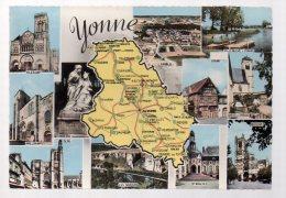 REF 325  :  CPSM Carte Géographique Département YONNE 89 - Maps