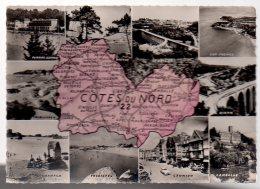 REF 318  :  CPSM 22 Cote Du Nord Département Carte Géographique Contour - France