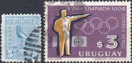 URUGUAY 1923/1965 - UCCELLI + OLIMPIADI DI TOKIO - 2 VALORI USATI - Uruguay