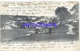 97091 PARAGUAY ASUNCION BARRIO DE LA ENCARNACION DAMAGED CIRCULATED TO ARGENTINA POSTAL POSTCARD - Paraguay