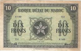 Marruecos - Morocco 10 Francs 1-5-1943 Pick 25a.1 Ref 1870 - Marruecos