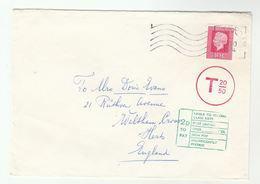 1974 NETHERLANDS UNDERPAID  T 20/50 COVER To Waltham Cross GB  2p TO PAY - Period 1949-1980 (Juliana)