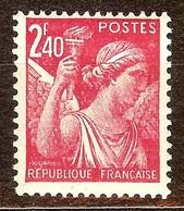 SUPERBE IRIS N°654 2F40 Rose Carminé NEUF Avec GOMME** Cote 0,30 Euro - 1939-44 Iris