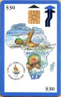 Zimbabwe - ZIM-053, 6th All Africa Games - Blue, Sports, GEM2 (Black/Grey), 30 Z$, %10.000ex, 8/95-ED.9/98, Used - Zimbabwe