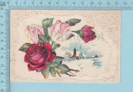 Roses Et Hameau -Embossee, Embossed   - CPA Postcard Carte Postale - Fleurs