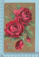Roses - Birthday Greeting, Embossed Gold Print -  CPA   Postcard Carte Postale - Fleurs