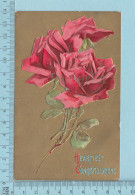 Roses - Heartiest Congratulations, Embossed Gold Print -  CPA   Postcard Carte Postale - Fleurs