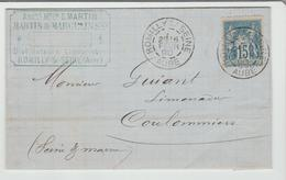 """AUBE: """" ROMILLY S/ SEINE """" CàD Type A2 / LAC De 1890 Pour Coulommiers TB - 1877-1920: Période Semi Moderne"""