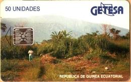 Equatorial Guinea - GQ-GET-0009A, Landscape - SC5 (Blue Text - Matt), 50 U, 1994, Used - Guinée-Equatoriale