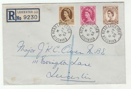 Registered GB 1953 Definitive FDC 5d 8d 1s Stamps EVINGTON ROAD LEICESTER Cds Pmk Cover - FDC