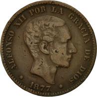 Monnaie, Espagne, Alfonso XII, 10 Centimos, 1877, TTB, Bronze, KM:675 - Monnaies Provinciales