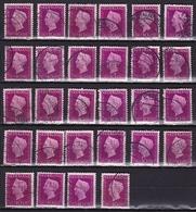 Nog Uit Te Zoeken STEMPELS Op 1947-48 Koningin Wilhelmina 10 Cent Purper NVPH 478 (28 X) Zie Scan ! - Poststempels/ Marcofilie