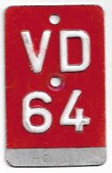 Velonummer Waadt VD 64 - Plaques D'immatriculation