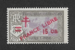French India 1943,15ca On 3R,Scott # 204,VF MLH*OG (FC-6) - India (1892-1954)