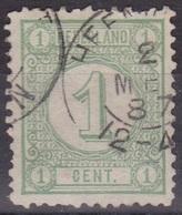 Kleinrondstempel HEENVLIET Op 1876 Cijfertype 1 Cent Groen NVPH 31 - Poststempels/ Marcofilie