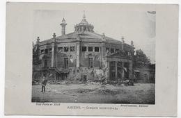 AMIENS EN 1920 - CIRQUE MUNICIPAL APRES GUERRE AVEC PERSONNAGE - CPA VOYAGEE - Amiens