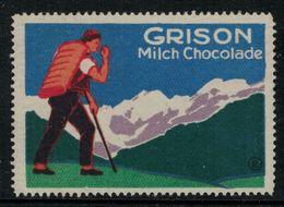 """Suisse // Schweiz // Switzerland // Erinnophilie  //  Vignette Publicitaire """"Grison Milch Chocolade"""" - Erinnophilie"""