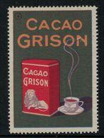 """Suisse // Schweiz // Switzerland // Erinnophilie  //  Vignette Publicitaire """"Cacao Grison"""" - Erinnophilie"""